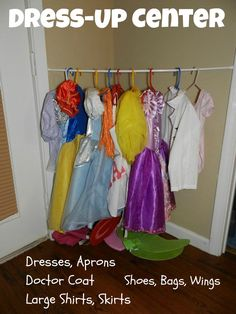 Like the tension rod for hanging clothes how to make preschool centers at home