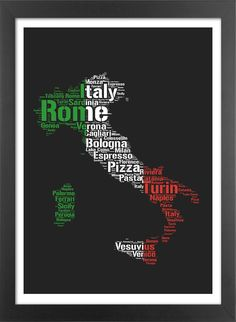 Typographic map of Italy. High quality print.