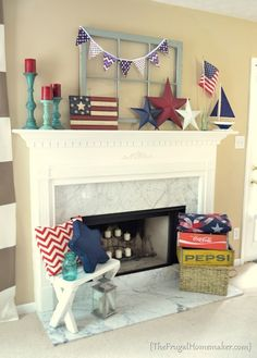 Patriotic Mantel, red, white, and blue mantel - The Frugal Homemaker  (I don't know why, don't even know if she has a fireplace, but a long time friend who lives far away decorates her home in red, white & blue and this so reminded me of her for some reason)