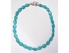 "Beautiful 18"" Large Genuine Turquoise & Sterling Silver Bead Necklace!"
