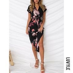 #mothersday #AdoreWe #Luvyle - #Luvyle Sweet Heart Floral Bodycon Dress - AdoreWe.com