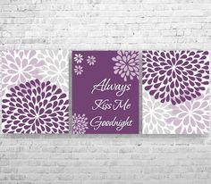Always Kiss Me Goodnight Purple Gray Flower Burst by ANYPRINT