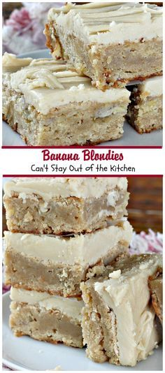 Banana Blondies will make you salivate. No kidding. I loved these scrumptious cookies–especially the icing. In these delectable goodies you brown the butter in both the cookie section and the icing, a