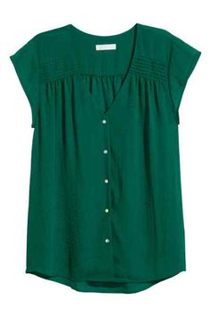 V-neck blouse in airy, woven crêpe fabric with pin-tucks at shoulders, cap sleeves, and pearlescent buttons at front. Made partly from recycled polyester. In Dark Green. Stitch Fix Outfits, V Neck Blouse, Short Sleeve Blouse, Blue Blouse, Blouse Styles, Blouse Designs, Stitch Fix Stylist, H&m Shorts, Shirt Blouses