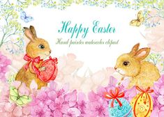 watercolor clipart/ Easter bunnies by MitrushovaArt on @creativemarket