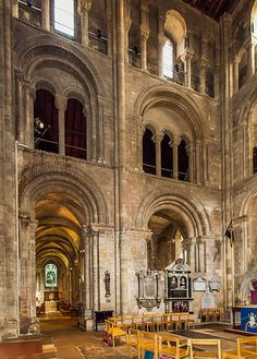 Norman arches in the South Transept of Romsey Abbey
