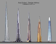 Dubai's Burj Khalifa building is the tallest in the world.  This chart shows the evolution of design.