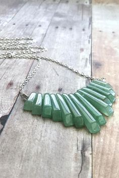 Green Statement Necklace, Silver Green Aventurine Necklace, Semi Precious Gemstone Jewelry, Natural Stone Fan Necklace, Boho Chic Jewelry by GemsByKelley on Etsy Silver Necklaces, Sterling Silver Jewelry, Gemstone Jewelry, Jewelry Necklaces, Jewellery, Jewelry Shop, Jewelry Ideas, 925 Silver, Gold Jewelry