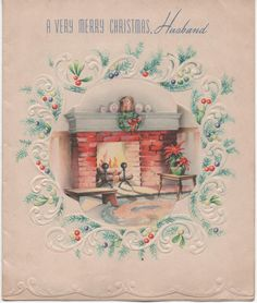 c1940s Christmas Card A Very Merry Christmas Husband linen