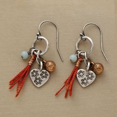 """DRAGON BOAT EARRINGS--Named for a Chinese festival, our exclusive danglers evoke an Asian sensibility. Handcrafted in sterling silver with stamped heart, amazonite, copper bead and orange tassel. 1-3/8""""L."""