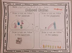 we brainstormed some rules in the classroom, in the lunchroom, on the playground, and in the hallway. Then, they illustrated their favorite rule in each category.