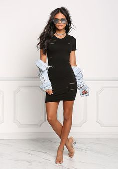 Black Distressed Mesh Net Bodycon Dress - Little Black - Dresses