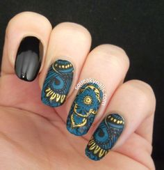 Tutorial - Stamping Decals in black and teal #gold #squeakynails #nailart #nails - bellashoot.com