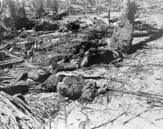 Tarawa, November 1943: Japanese dead on Tarawa. The Japanese suffered nearly 500 casualties during the American attack.
