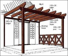 How to build a pergola attached to house. Maybe on the other side of our covered porch. #casasecologicasmadera