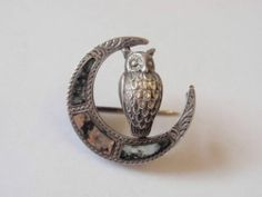 Antique Victorian Silver Agate Owl in Moon Brooch Pin C 1890 - I own this exact brooch and love it!