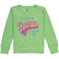 Los Angeles Dodgers Soft as a Grape Youth Girls Slouchy Pullover Sweatshirt - Green - $24.99
