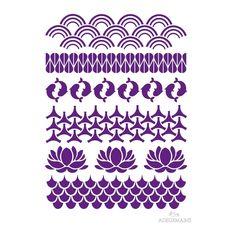 Avec ce pochoir Frises Japonisantes ADEUXMAINS (A4), 6 frises de motifs typiques du Japon sont à votre disposition pour décorer de jolis cadres, customiser un bas de tee shirt, personnaliser une nappe...