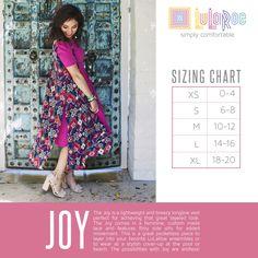 Joy size chart https://www.facebook.com/groups/lularoejilldomme/