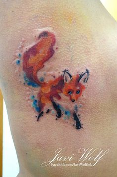 Watercolor Fox Tattoo.  Tattooed by @javiwolfink  www.javiwolf.com