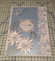 Thank You card made using Memory Box Kensington Border & Butterfly & Heartfelt Creations Aster dies.