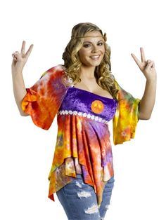 70s Tie Dye Hippie Top - The Best 50's, 60's, 70's, & 80's ...