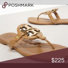ISO Tory Burch Miller 2 sandals in sz 9 Miller sandals in patent sand with  gold