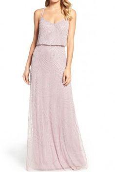 Adrianna Papell Light Heather Silver Beaded Art Deco Blouson Gown