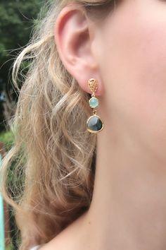 Blue Earrings Mint Earrings Navy Blue Earrings Mint by LetItBeLove, $25.00