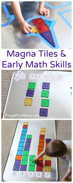 Four Math Games with Magna Tiles - Work on counting, patterns, addition, and more.