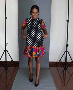Clever combination of western and African in one dress. Pockets: Yes Lining: No DHL Express shipping on all orders. Orders will be shipped in 2 business days except when it is pre-ordered. in which case it will be sent out in 10 working days latest. Ankara Styles For Women, Latest Ankara Styles, Latest African Fashion Dresses, African Print Dresses, African Dresses For Women, African Print Fashion, African Wear, African Women, African Prints