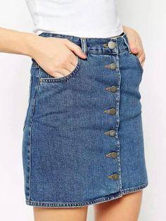 Blue Single-breasted Denim Skirt 12.00