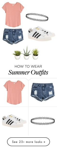 """Summer outfit"" by ro3se on Polyvore featuring mode, H&M en adidas Originals"