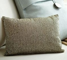 Love this, however... I would probably wake up a few times with this lovely row pattern all over my face, that should make for a fun drop off for the kids, Rustic Sparkle Pillow | Pottery Barn