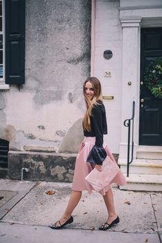 Gal Meets Glam Pink and Black -ASOS top, skirt, flats & clutch