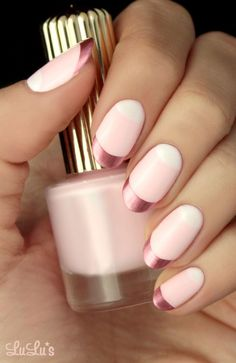 Oval + Soft Pink & White + French Manicure + Chrome