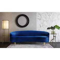 Blue Velvet Cusrved Silhouette Sofa Gold Legs
