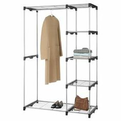 "With 5 wire shelves and 2 hanging areas, this organizer is perfect in the bedroom, pantry or garage. Its removable lower rod offers space to hang dresses and long coats.                                                                             Product: ClosetConstruction Material: Coated metal and wireColor: SilverFeatures:  Five extra strong wire shelves with two hanging barsCenter bar can be removed to hang long garmentsDimensions: 68.03"" H x 45.24"" W x 19.29"" D   Great for Laundry Room!"