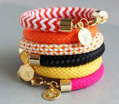 Rope Bracelet - Chunky Rope Bracelet - Gold Charm Bracelet - Statement Bracelet The newest addition to our vibrant range of adornments for the Fabric Bracelets, Braided Bracelets, Handmade Bracelets, Handcrafted Jewelry, Leather Bracelets, Charm Bracelets, Rope Jewelry, Bullet Jewelry, Jewelry Crafts