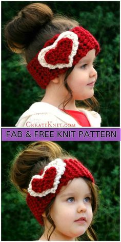 Knit Heart Ear Warmer Free Pattern for Valentine