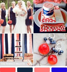 Party Palette | Shades of Coral + Blue http://www.theperfectpalette.com/2013/06/party-palette-coral-navy-blue.html