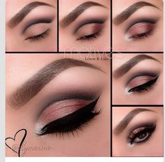 Brown smokey eye eyeshadow idea! Gorgeous shimmer highlight on the brow bone. Try Addiction Palette 1 or any of Younique's  beautiful mineral eye shadow Pigments to achieve this look.