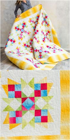 Delightful Dahlias Quilt Kit | Craftsy.com.  Capture your own rainbow in this fun, one-block design. The quick   transition of color within the Boundless Blenders Ombre collection adds a   luminous effect to your finished quilt. Use the included templates