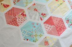 Hexie quilt via Hyacinth Quilt Designs