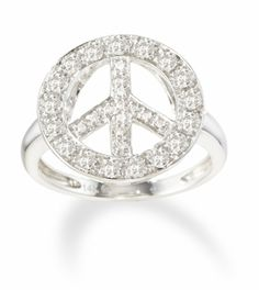 Diamond Peace Sign Ring in 14k White Gold