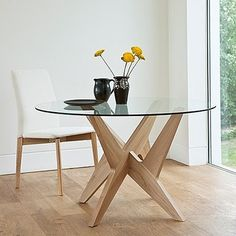 Cross Pedestal Table with Glass Top Modern Dinning Table, Contemporary Dining Table, Glass Dining Table, Round Dining Table, Wood Table, Ideas Decoracion Salon, Memory Table, Dining Furniture, Buffet