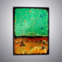 Abstract Painting on Canvas,Blue Painting,32x24 inch - Rusty…