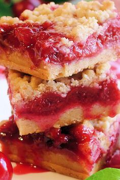 Cherry Pie Crumble Bars ~ Scrumptious homemade cherry pie filling made with plenty of fresh picked tart cherries as well as a crumble pastry with just the right salty-sweet and buttery richness you would expect in a darn good tart cherry pie. Irresistible!