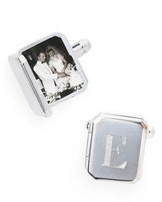 How adorable -- custom cufflinks. Great for the groom and groomsmen.