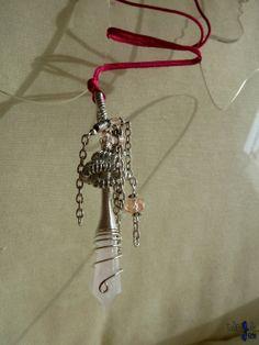 Pendentif Amulette pendule en quartz rose et aluminium °°Fée Lamourpalaguerre°° - 26,70€